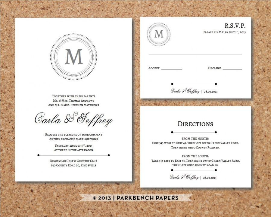Editable Wedding Invitation Rsvp Card And Insert Clic Monogram Style Word Template Instant Printable