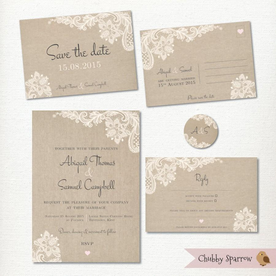 Wedding Invitation Save The Date Postcard Lace And Linen Rsvp 2 Label Kit Set Print At Home Clic Vintage Rustic