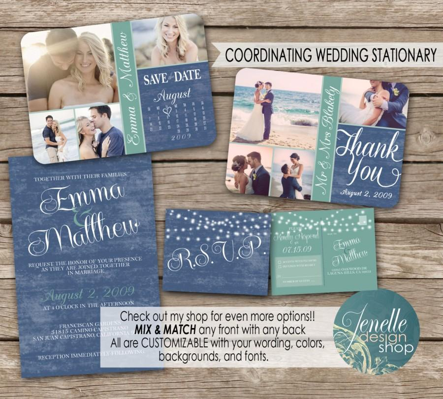 Beach Wedding Invitation Kit Save The Date Postcard Thank You Card Printable
