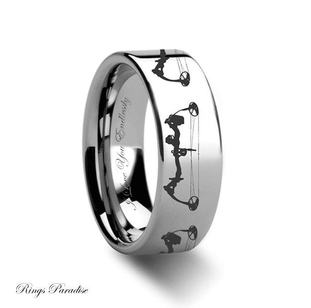 Tungsten Wedding Band Mens Ring Unique Engagement Rings Bow Archery Design Engraved Flat His Her Promise