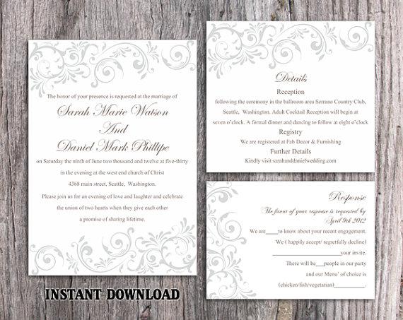 Diy Wedding Invitation Template Set Editable Word File Instant Printable Silver Gray Elegant Invitations