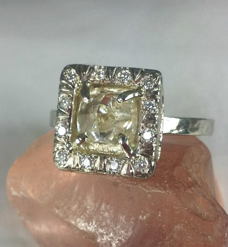 Raw Diamond Ring Natural Clear Halo Engagement Solid White Gold Multistone Wedding