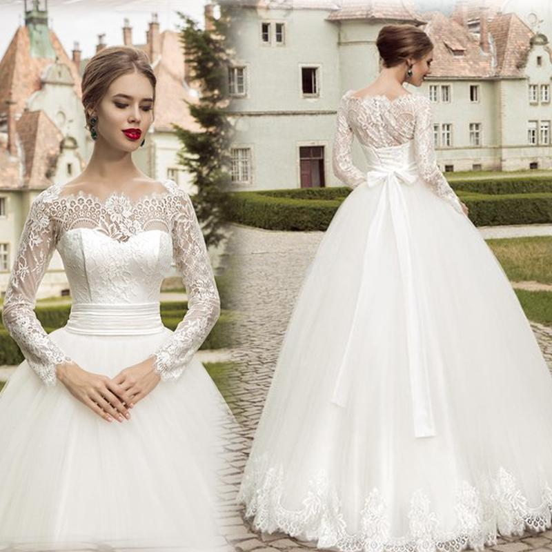 Spring Brand New Design Vintage Wedding Dresses With Lace Long Sleeve Tulle Ball Gowns Bridal Dress Illusion Sheer A Line Floor Length Online