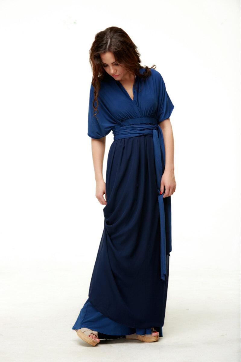 Navy Blue Dress Bridesmaid Infinity Floor Length Wrap With Chiffon Convertible