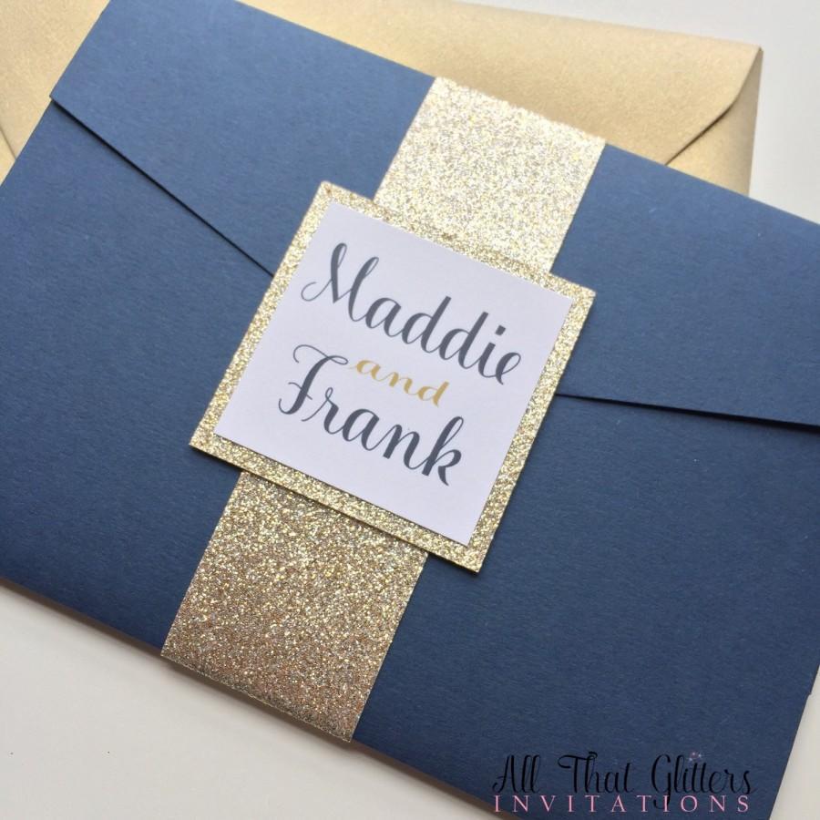 Champagne And Navy Wedding Invitation