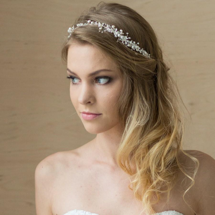 bridal hair vine, bridal headband, pearl headband, wedding headband