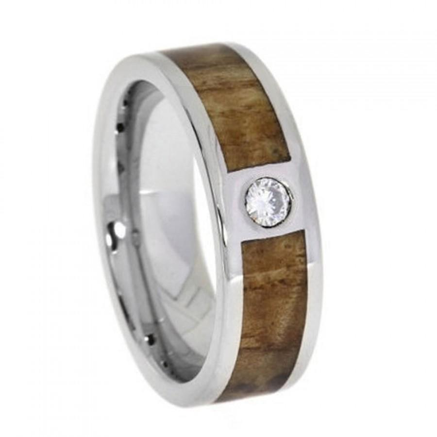 Hawaiian Koa Wood Ring Anium Set With 2mm Stone Mens Wedding Band Or Engagement Waterproof Ready To Ship