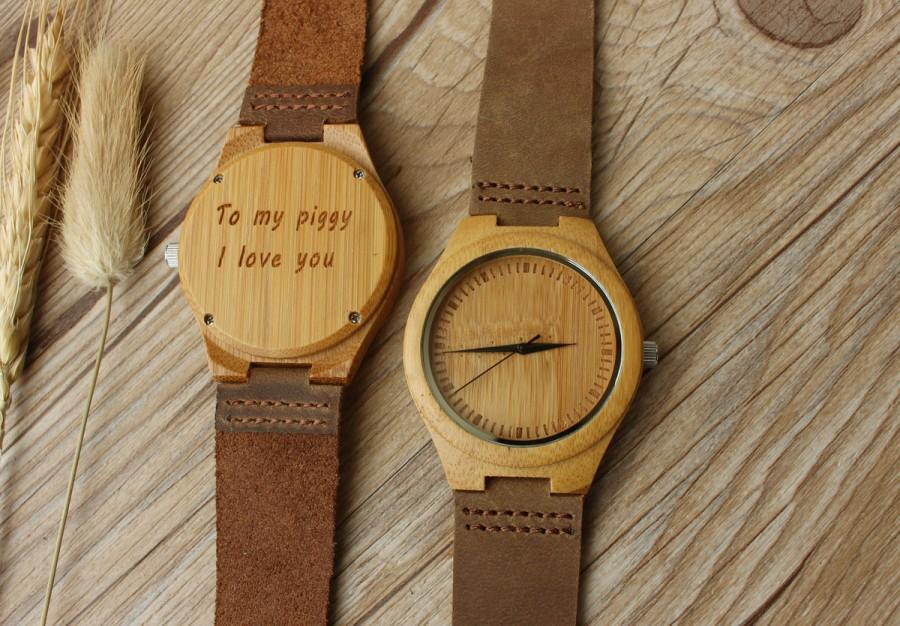Gift Wooden Watch For Boyfriend Him Her Wife Friend Anniversary Dad Husband Father Son