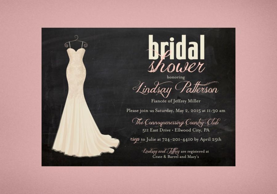 Wedding Dress Bridal Shower Invitation Chalkboard Gown Invite Invitations