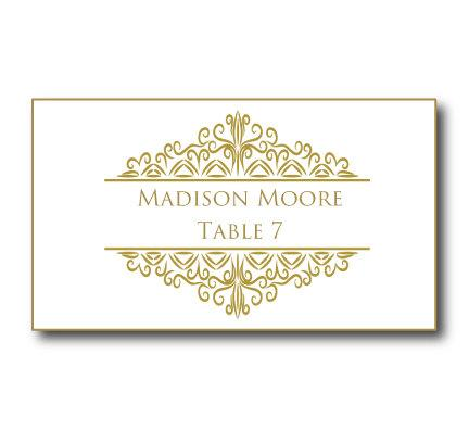 Gold Wedding Place Card Template Instant Editable Text Damask Microsoft Word Format