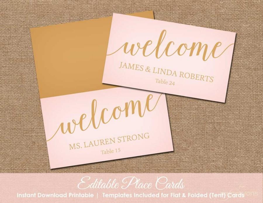 Blush Pink And Gold Wedding Place Cards Printable Name