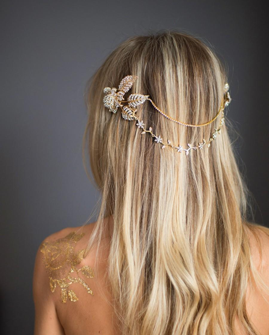 grecian gold halo hair wrap, gold hair chain, wedding gold