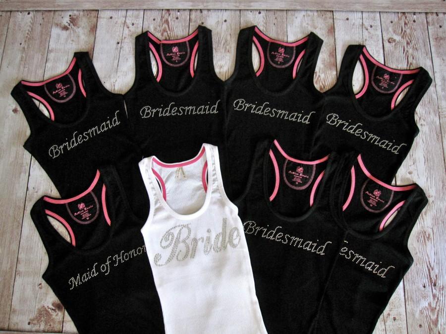 8 Bride Bridesmaid Tank Top Shirt Matron Of Honor Maid Wedding Bridal Party Shirts Custom Rhinestone Bachelorette