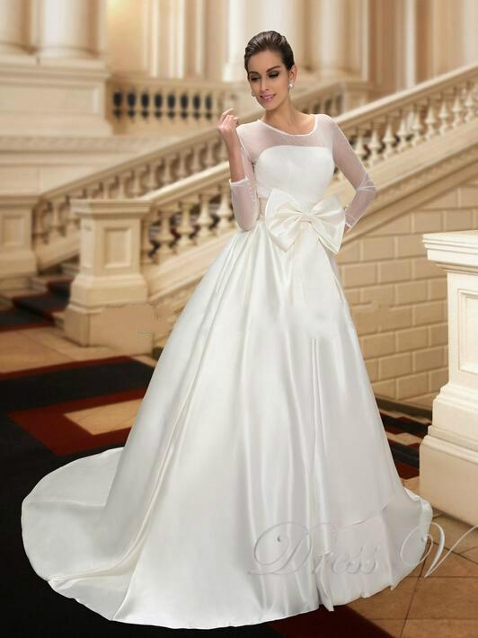 New Designer Wedding Dresses With 3 4 Long Sleeve Bow Illusion Satin Scoop Neckline Chapel Train White Spring Bridal Ball Gowns Dress Online