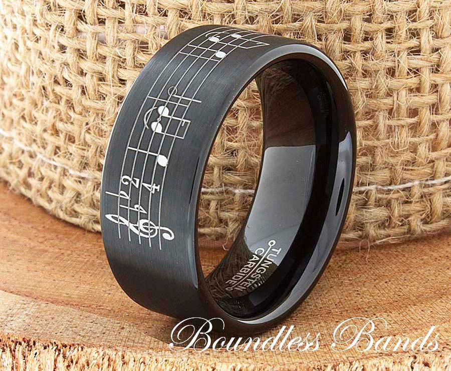 Music Note Tungsten Wedding Band Ring Song Sheet Laser Engraved 9mm Comfort Fit