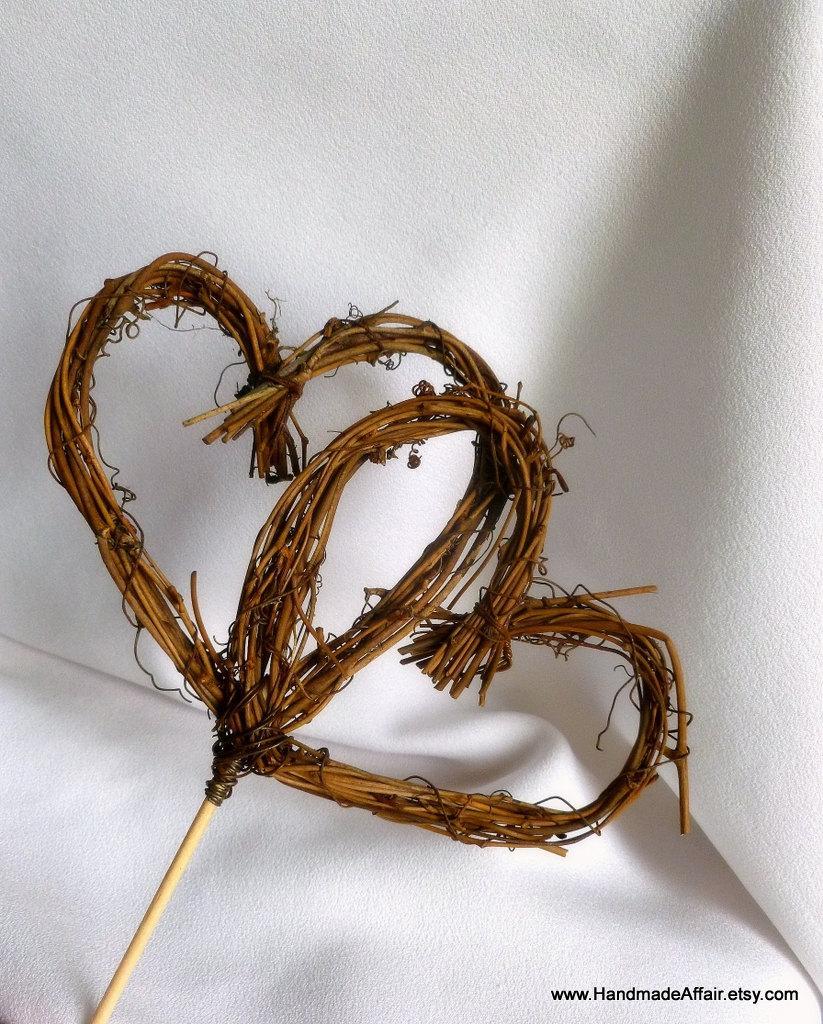 Fall Cake Topper Double Vine Hearts Rustic Wedding Decor