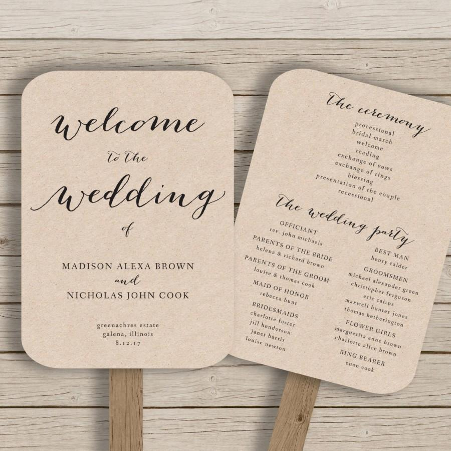 Wedding Program Fan Template Printable Rustic Editable By You In Word Calligraphy Style Print On Kraft