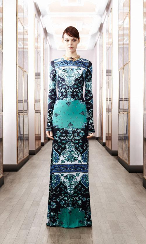 Emilio Pucci Green Mid Night Print Long Sleeve Maxi Dress
