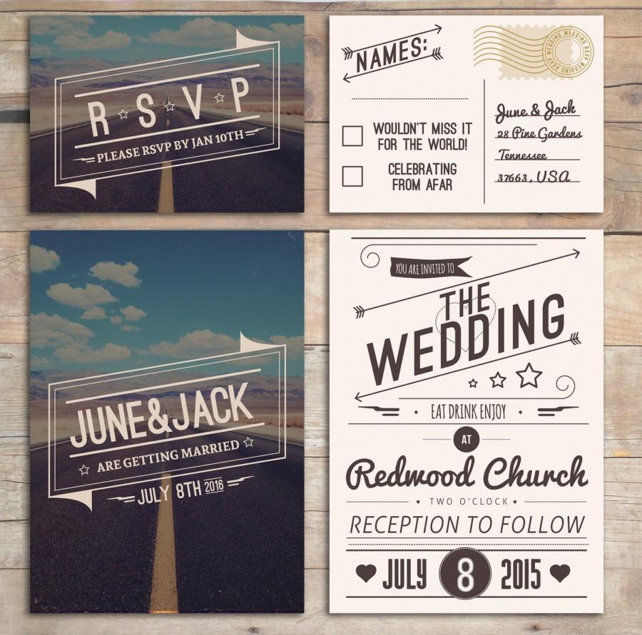 Retro Wedding Invitation Set American Design Rockabilly Style In Blue Cream With Rsvp Postcard Roadtrip Desert