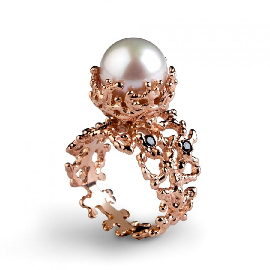 Well-liked CORAL Black Diamond Ring, Rose Gold Engagement Ring, Pearl  QG98