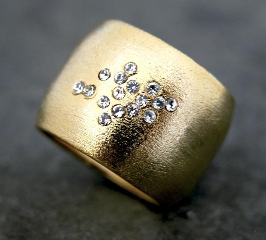 April Birthstone Ring Diamond 14k Gold Band Wide Wedding Jewelry Or Cz