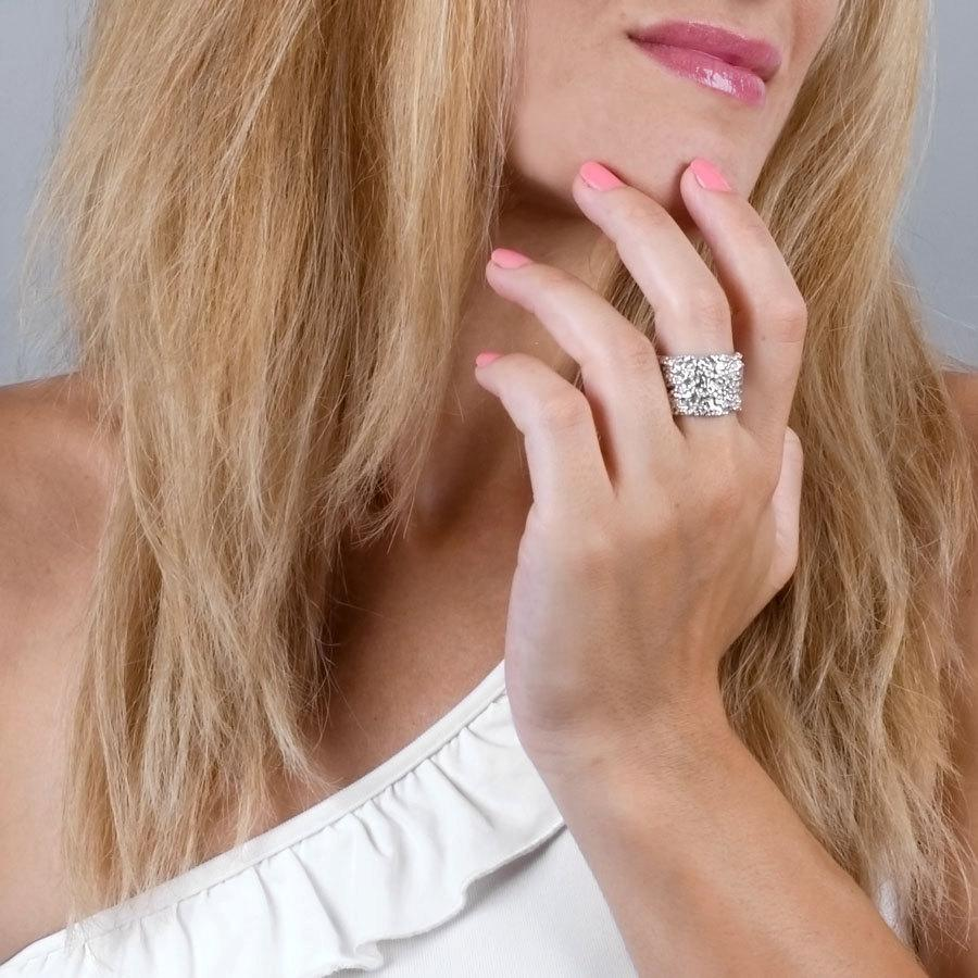 Wide Silver Ring Womens Band Sterling Wedding Statement Unique Bohemian