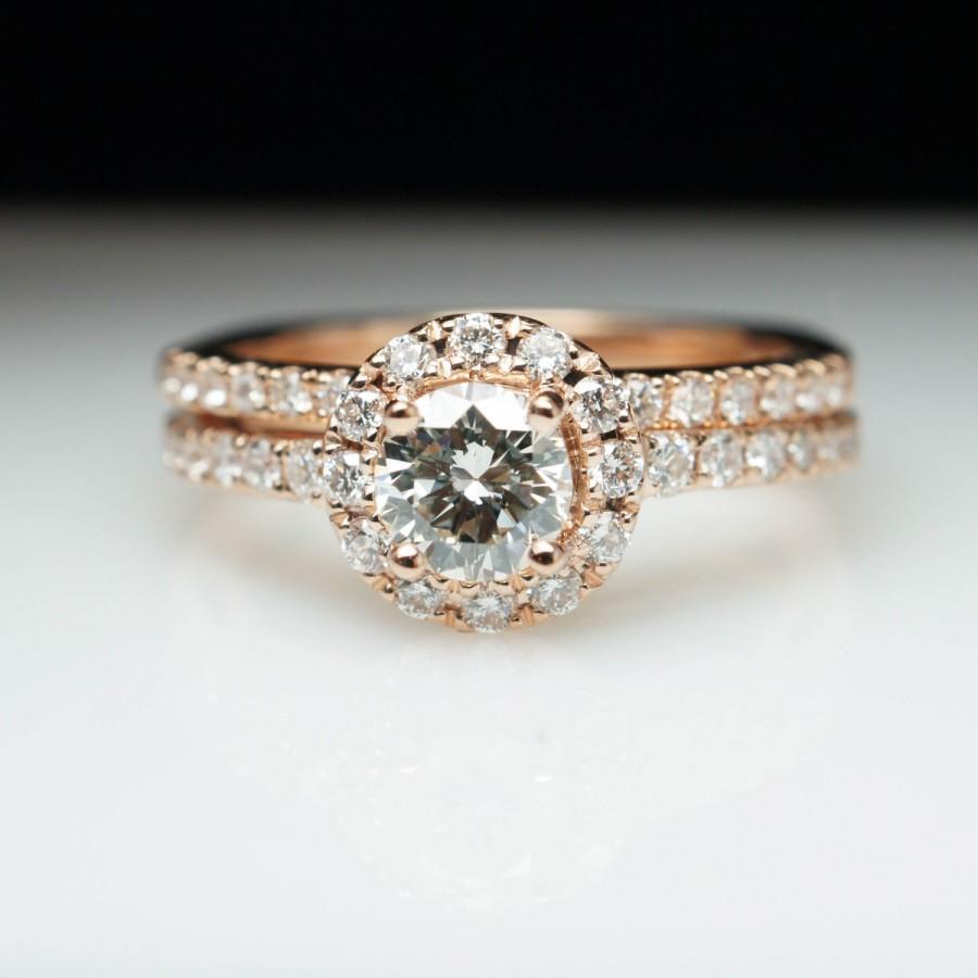 Rose Gold Round Diamond Halo Engagement Ring Matching Wedding Band Set