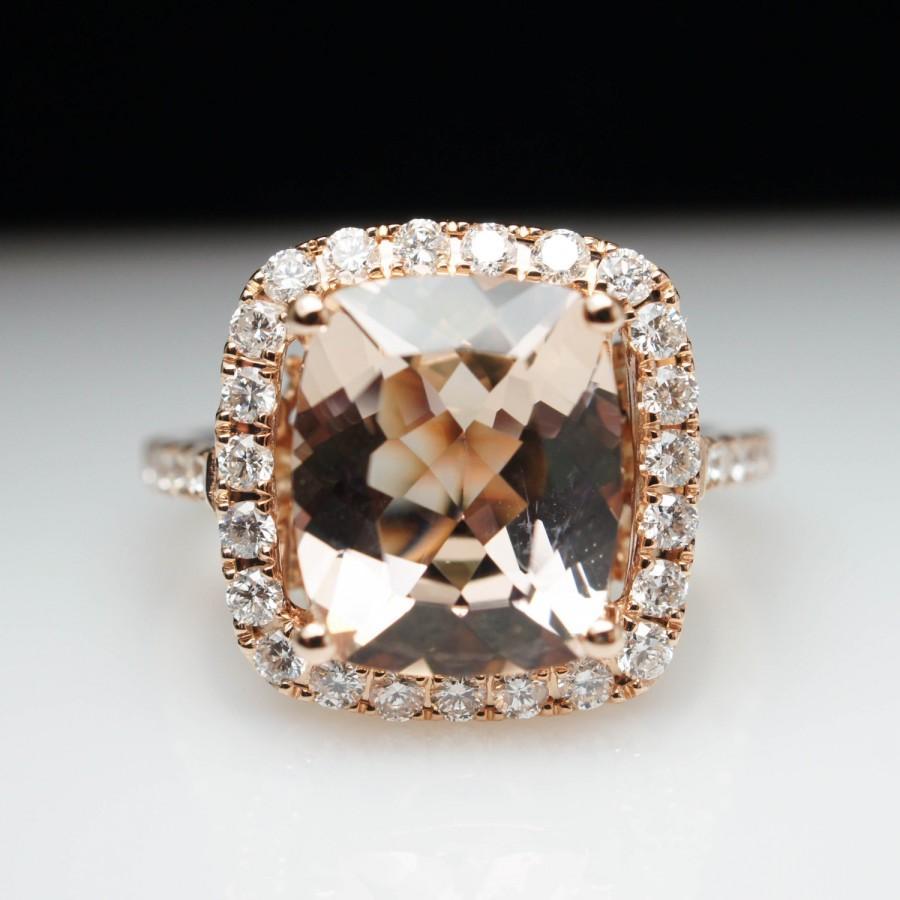 Well-known Cushion Cut Morganite Diamond Halo Engagement Ring 14k Rose Gold  PI06