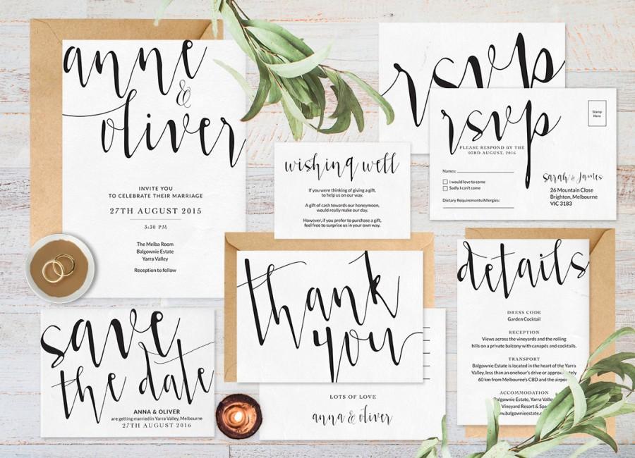 Wedding Invitation Set Printable Black And White Invitations Rsvp Card Save The Date