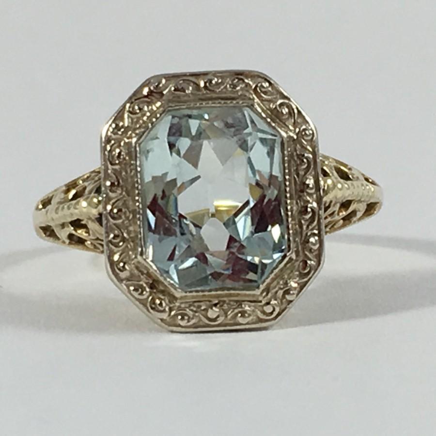 Vintage Aquamarine Ring 10k Yellow Gold Filigree Setting 2 Carat Unique Engagement March Birthstone 19th Anniversary Gift