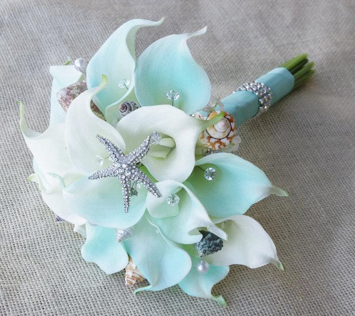 Silk Flower Wedding Bouquet Aqua Mint Robbin S Egg Calla Lilies Natural Touch With Crystals Seashells And Starfish Bridal