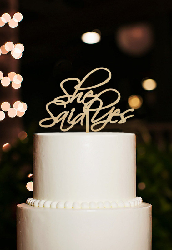 wedding cake topper yes or no she said yes cake topper bridal shower cake topper wedding 26666