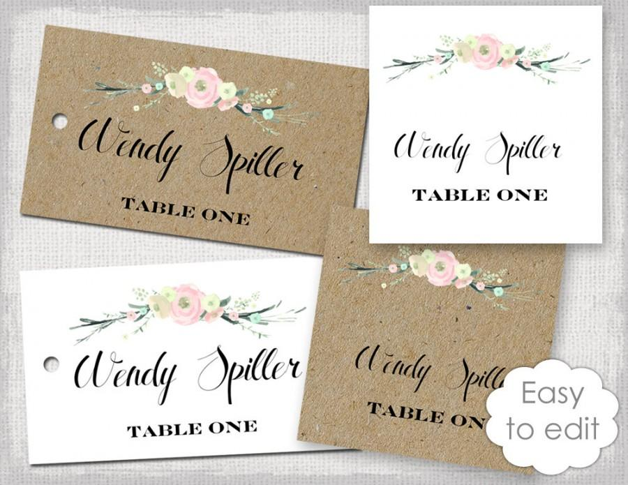 Rustic Name Card Template Flowers Blush Pink Place Cards Diy Printable Kraft Favor Tags You Edit Avery 5881