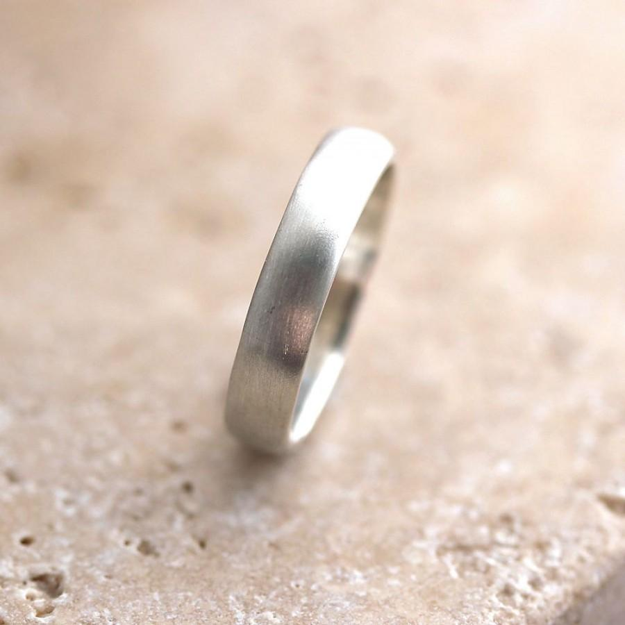 Silver Wedding Band Brushed Men S Or Women Uni 4mm Low Dome Recycled Metal Argentium Sterling Ring Made In Your Size