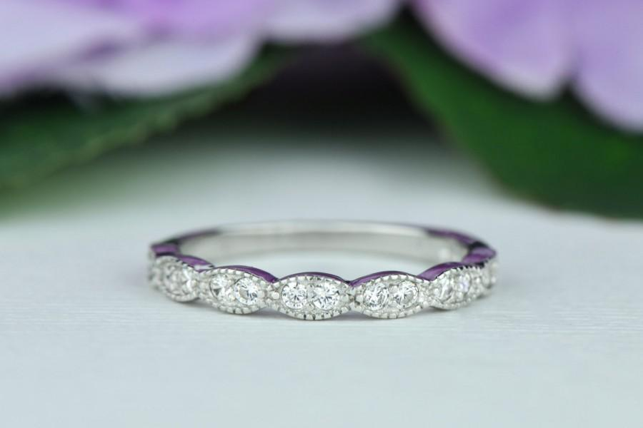 Wide Art Deco Wedding Band Vintage Style Engagement Ring Half Eternity Man Made Diamond Simulants Sterling Silver