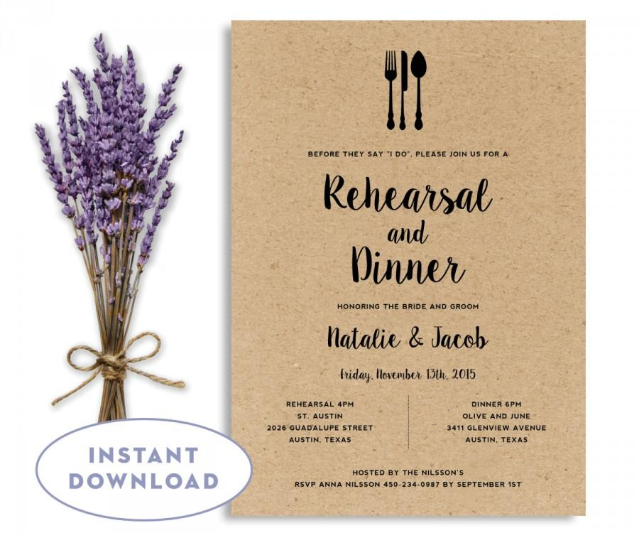 Rehearsal Dinner Invitation Template Wedding Editable Instant Word