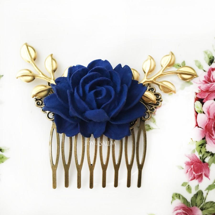 dark blue wedding comb navy blue rose hair comb gold leaf bridal