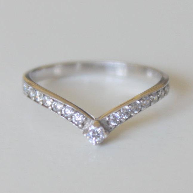 V Ring With Swarovski Gems Thin Silver Engagement Wedding Band Bridesmaids Gift Valentine S Day