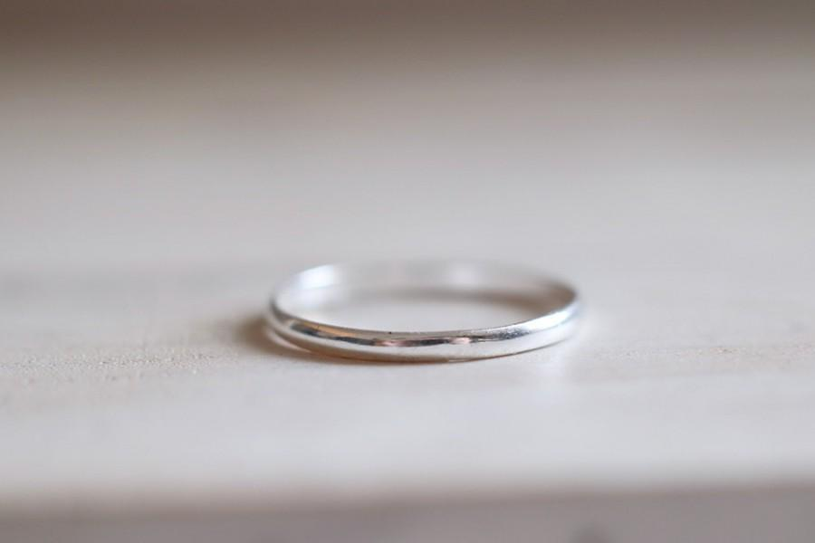 Sterling Silver Thin Band Ring Stacking Engagement Wedding Mini
