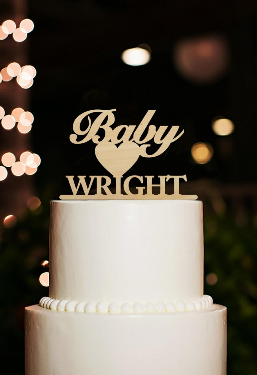 Personalized Baby Shower Cake Topper Name Birthday Rustic With Heart Unique Wood Gift