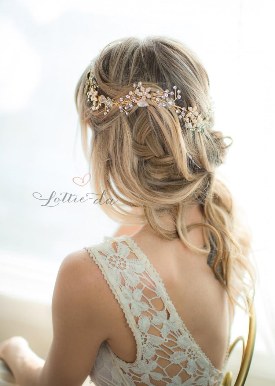 gold boho flower crown wedding headpiece, bridal hair vine, hair