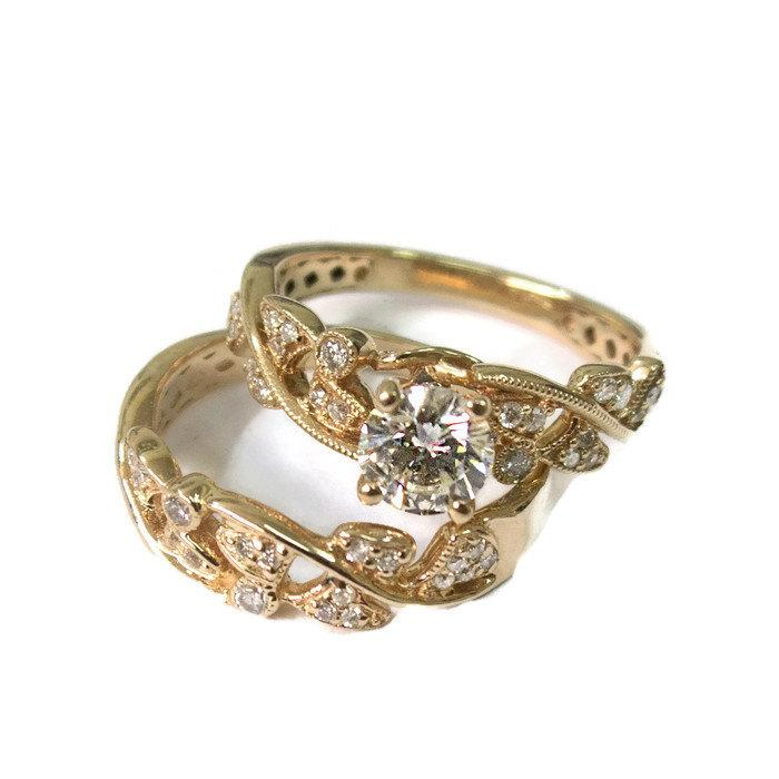Leaves Engagement Set Yellow Gold 14k Wedding Antique Ring Vintage Leaf Band