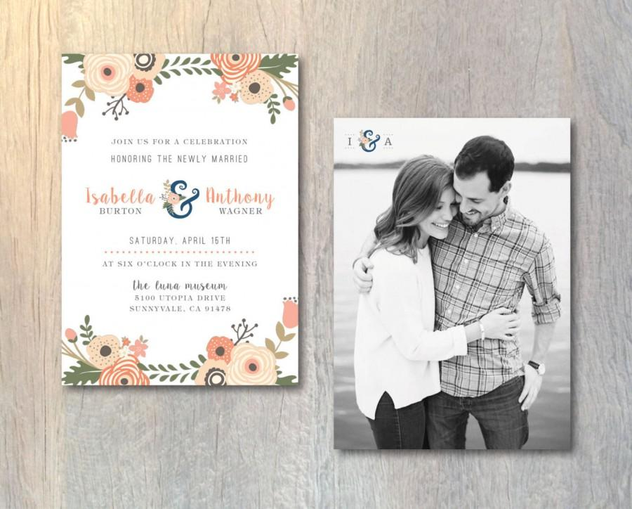 Rustic Wedding Reception Invitation Card Photo Fl Monogram Printable Diy