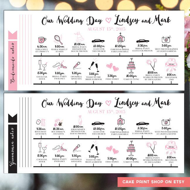 Printable Wedding Itinerary Day Timeline Schedule Printables