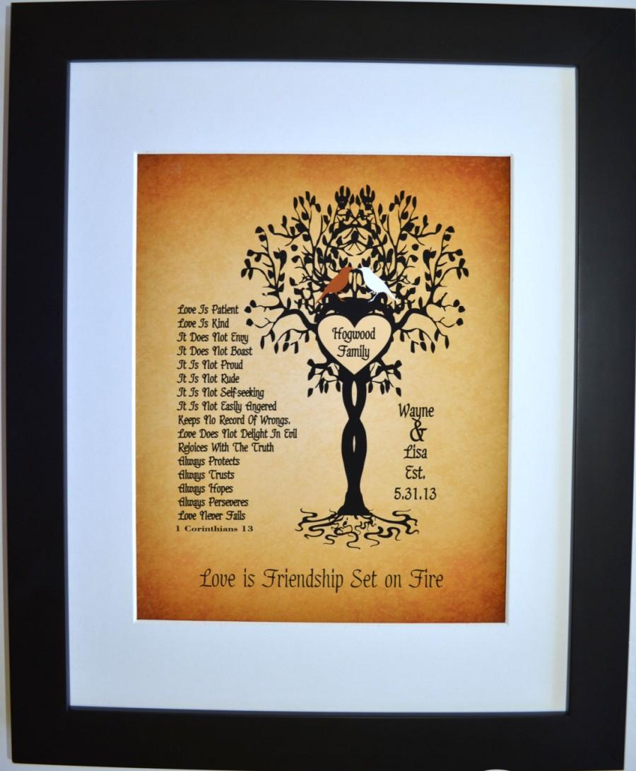 First Anniversary Paper Gift Love Is Patient Kind Personalized Custom 1 Corinthians13 Birds Family Tree