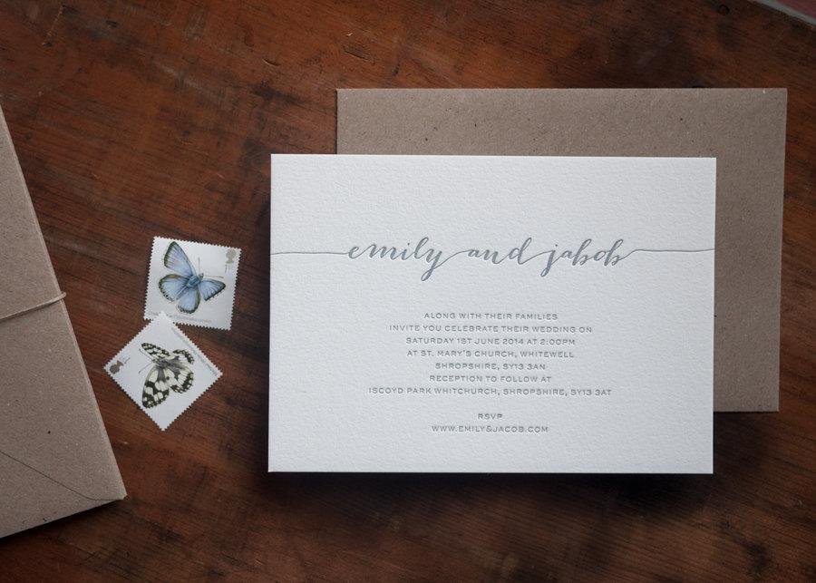 Modern Calligraphy Letterpress Wedding Invitation Style A Sample