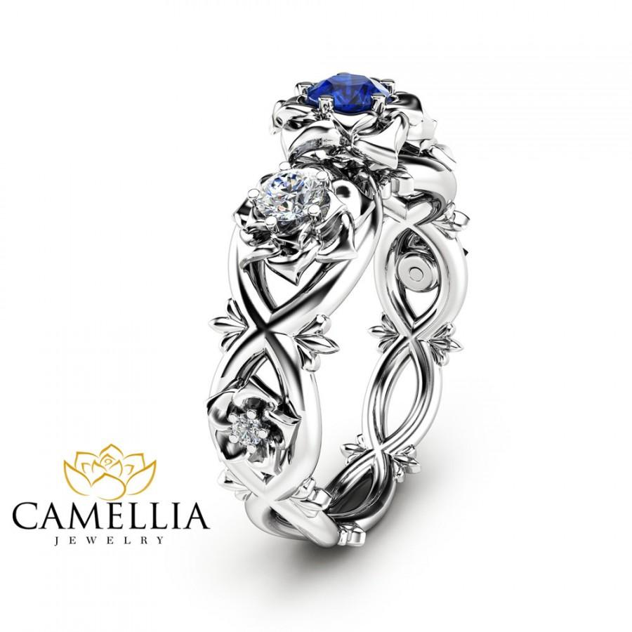 Blue Natural Shire Engagement Ring Unique Three Stone In 14k White Gold Flower Design Nature Inspired