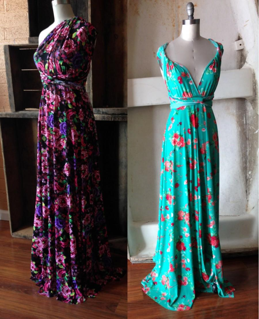 Farmer S Market Fl Print Maxi Octopus Wrap Dress Choose Your Fabric Hydrangea Or Peach And Turquoise