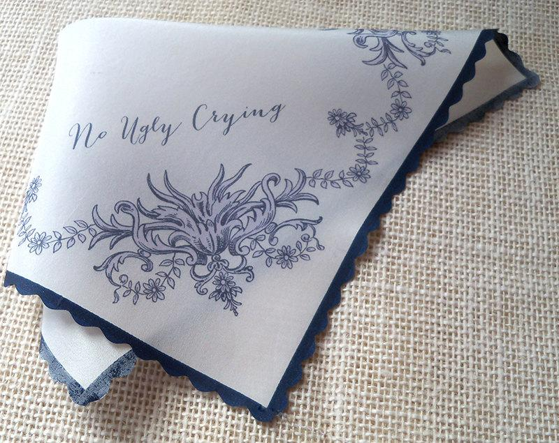 Silk Wedding Handkerchief With Monogram No Ugly Crying Personalized Favor Mother Of The Bride Memento