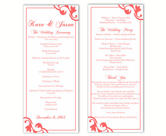 Wedding Program Template Diy Editable Text Word File Orange Red Printable 4x9 25inch